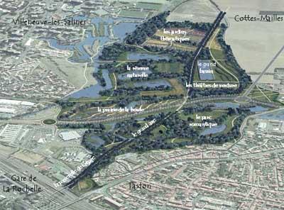 vue aérienne de l'aménagement en direction de Cottes-Mailles