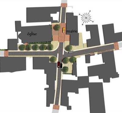 Projet d am nagement de la place de la mairie et de l for Amenagement jardin 2000m2